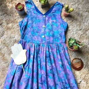 {Vintage} Dragonfly & Butterfly Blue Maxi Dress, M